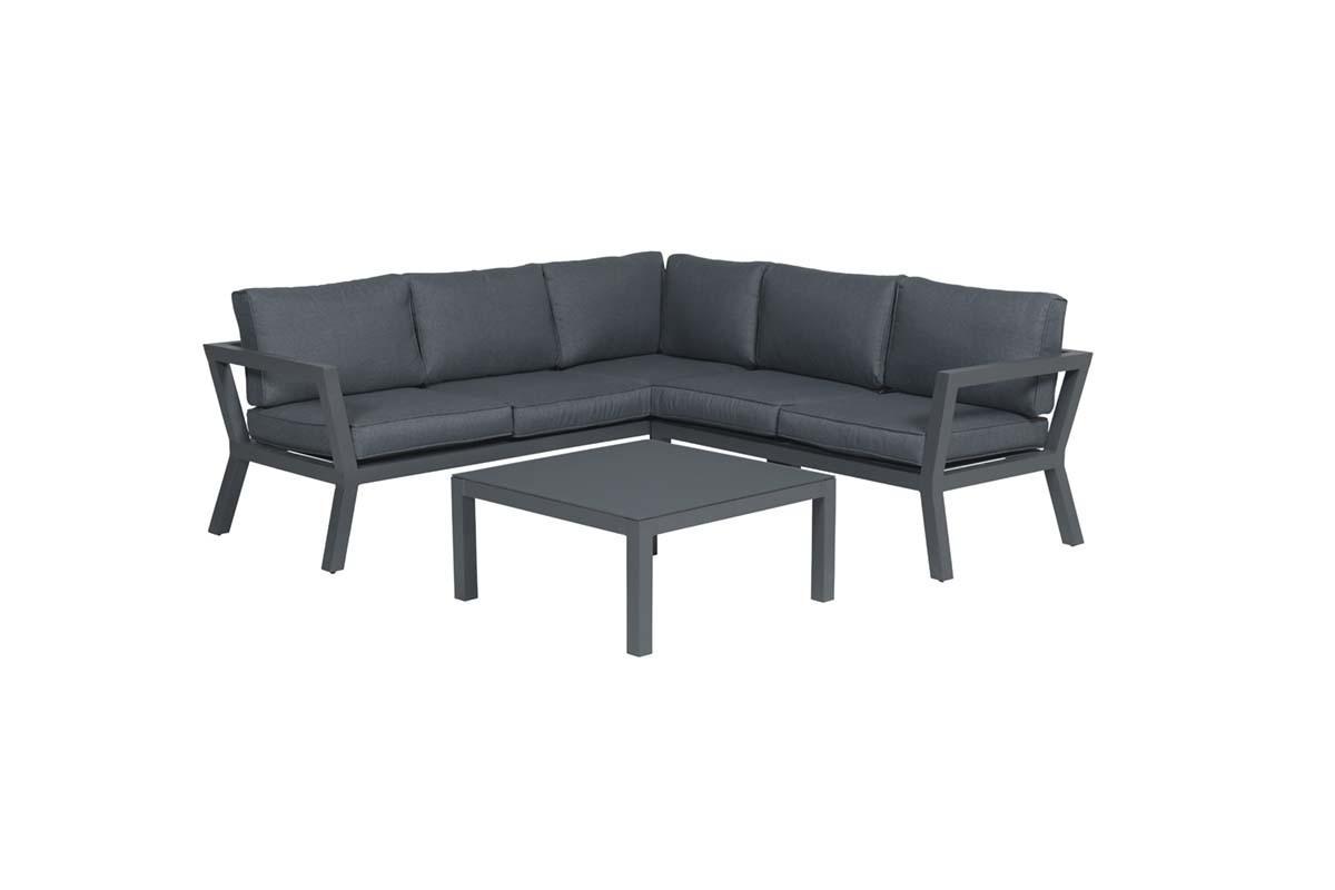 Salon de jardin Colorado 3pcs noir charbon/gris reflex
